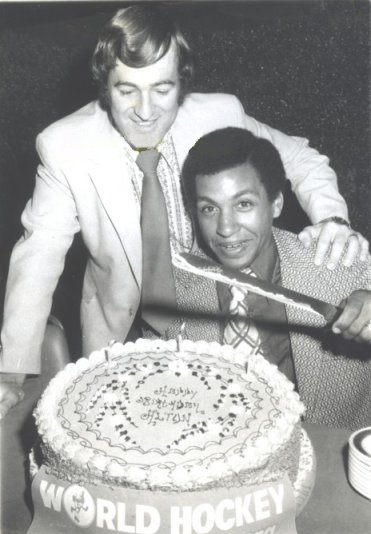 Alton White celebrates his 27th birthday with Ron Ward by signing with the NY Raiders - and becoming the first black WHA'er