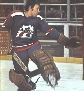 This is NOT a publicity photo. The Indianapolis Racers' Andy Brown was the last professional goalie to NEVER wear a mask
