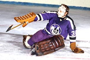 Gerry Cheevers stops another one for the Cleveland Crusaders