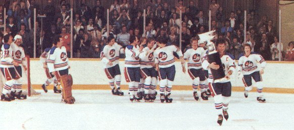 The Winnipeg Jets celebrate the WHA's final playoff game in 1979